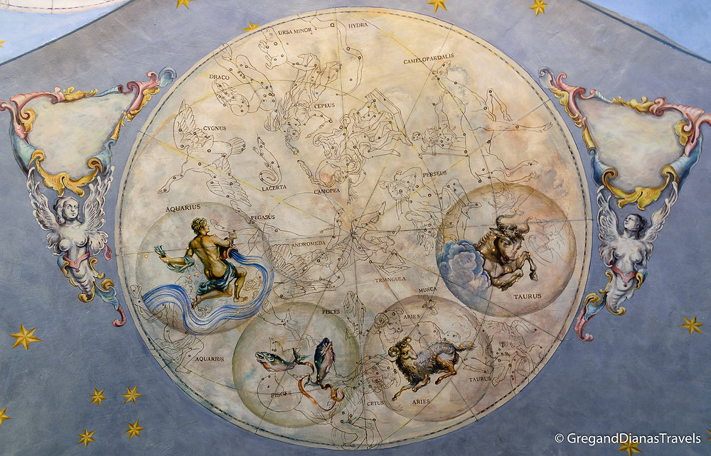 Ceiling painting depicting astrological signs, Kormuth Patisserie Bratislava, Bratislava Slovakia, Travelblog