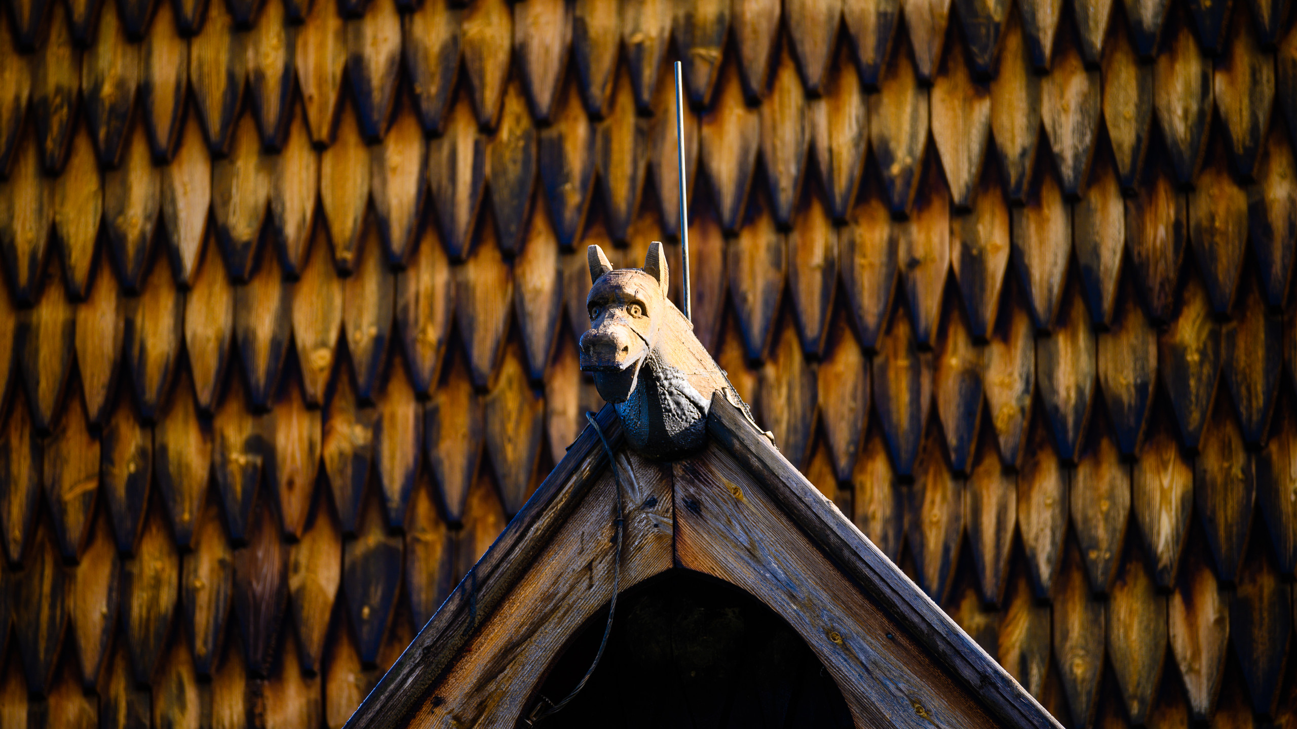 Carved wooden figure on Heddal Stave Church, Norway