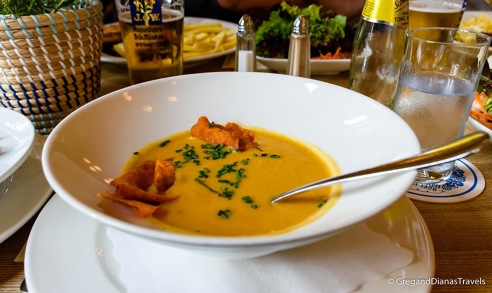 Sweet potato cream soup, Munich Germany, München Deutschland, Travel blog