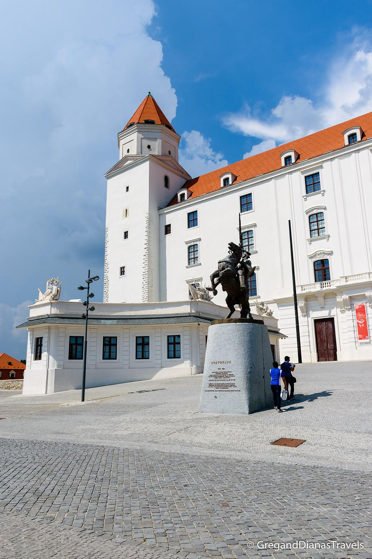 Statue of King Svatopluk I in front of the Bratislava Castle, Bratislava Slovakia, Travel blog