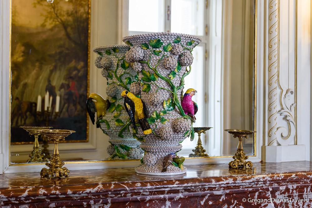 Flower vase on the marble fireplace, György Corridor, Festetics Castle, Keszthely Hungary, Travel blog, Travel blogger, Travel photography