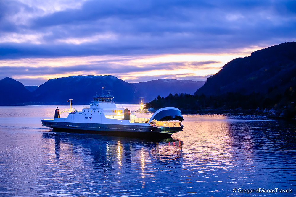Lavik - Oppedal Ferry , Travel Norway, Sognefjord Norway, Sognefjord at sunset