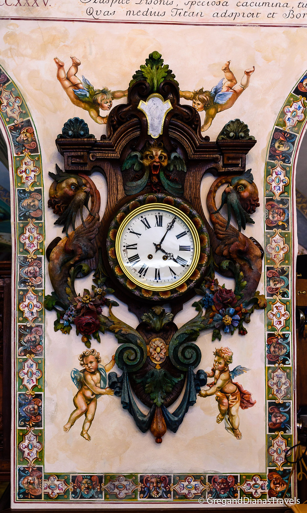 Wooden carved clock with angels, Kormuth Patisserie Bratislava, Bratislava Slovakia, Travelblog