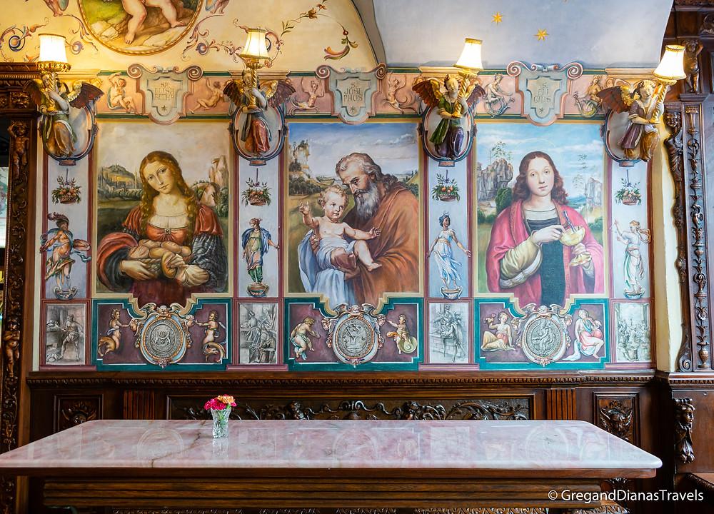 Paintings depicting St. Elisabeth, St. Joseph and St. Eligius, Kormuth Patisserie, Bratislava Slovakia, Travelblog