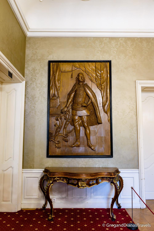 Full-body high relief statue of Kristof Festetics, Festetics Castle, Keszthely Hungary, Travel photography, Travelblog, Travelblogger