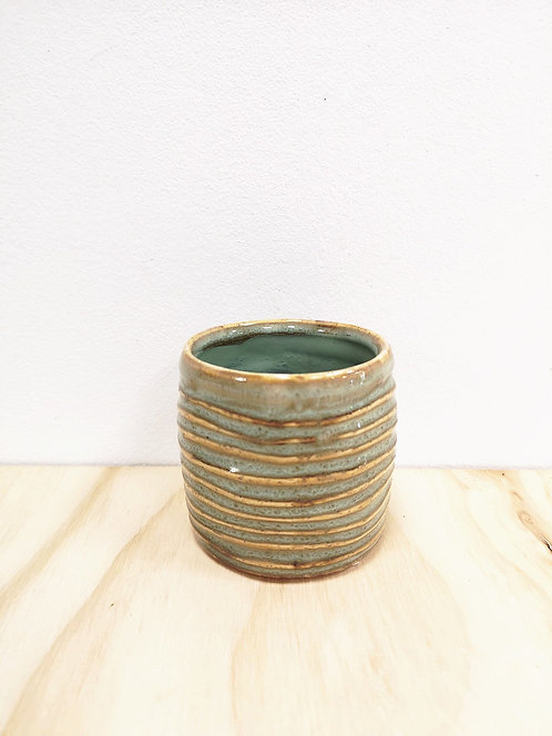 Green Glazed Striped Mini Pot