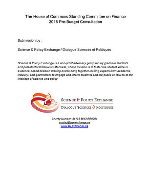 Science & Policy Exchange 2018 pre-budge