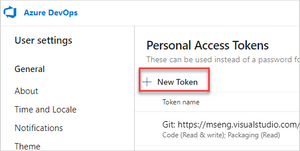 Creating a new personal access token for Azure DevOps