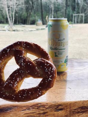 Nothing like a radler and pretzel enjoyed on our back deck