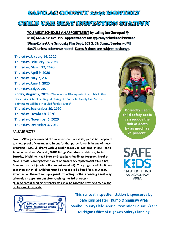 2020 Child Car Seat Inspection Schedule.