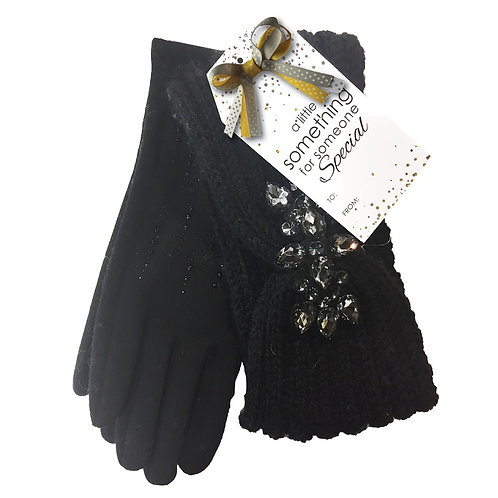SIMI HEADBAND AND GLOVE SET BLACK