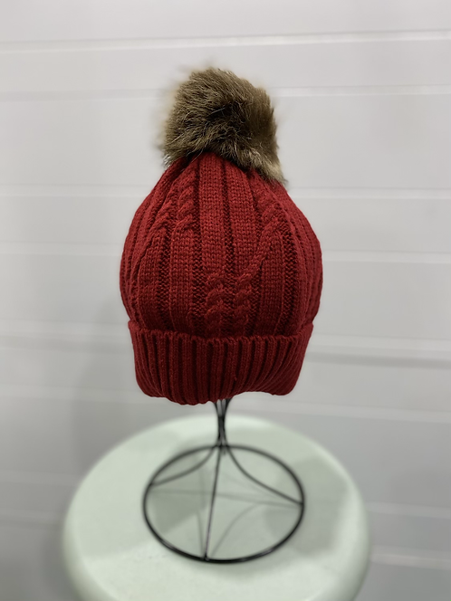 BURGUNDY RED TOQUE WITH BROWN FURRY POMPOM