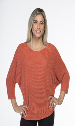 CHERISHH CORAL SWEATER WITH SILVER THREADING