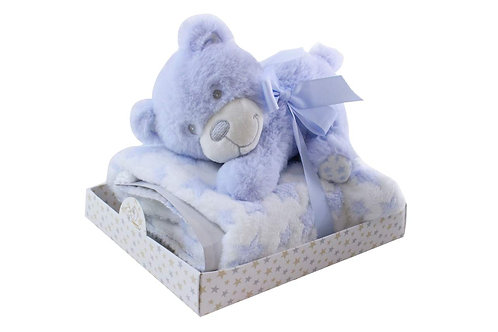 SPLASH BLUE BABY BEAR AND BLANKET SET