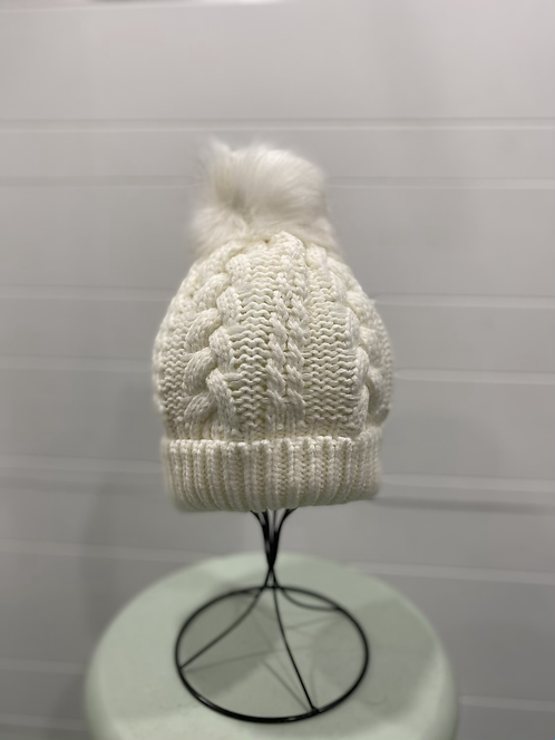 WHITE CABLE KNIT TOQUE WITH WHITE POMPOM
