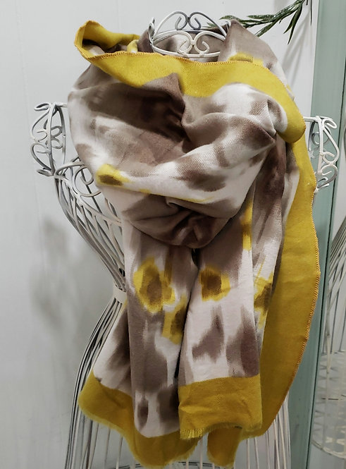 PICABO MUSTARD AND BROWN PRINT