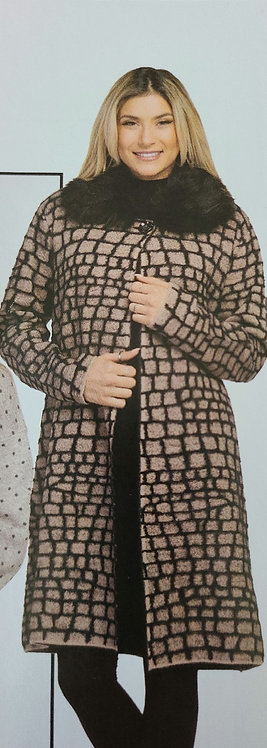 VARATIONS  ONE BUTTON CARDIGAN WITH FAUX FUR REMOVABLE COLLAR