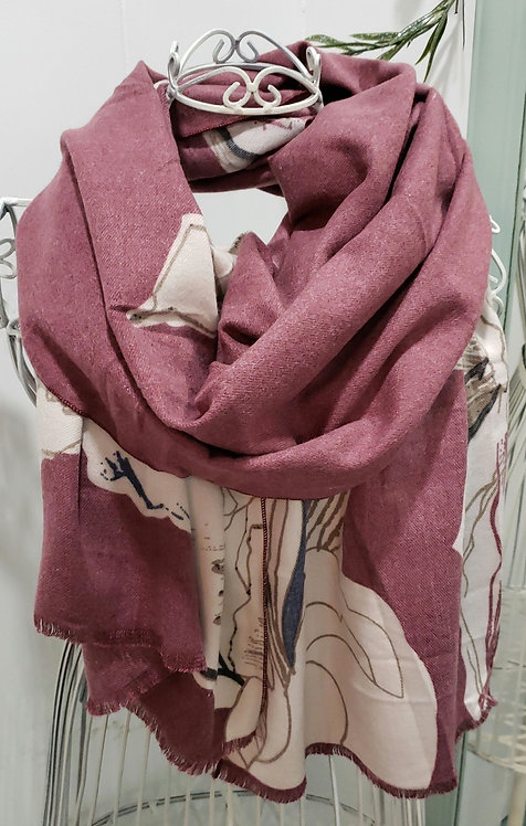 PICABO BURGUNDY FLORAL SCARF