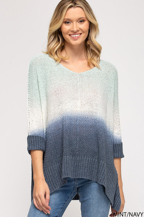 SHE & SKY  DIP DYED HI LOW KNIT SWEATER TOP MINT/NAVY