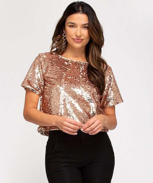 SHE AND SKY SEQUIN TOP
