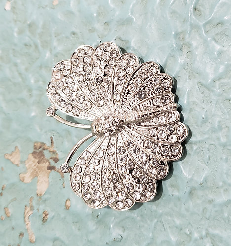 SILVER METAL BUTTERFLY JEWELED BROACH