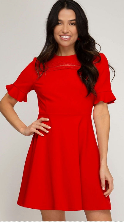 SHE AND SKY RUFFLED SLEEVE HEAVY KNIT SKATER DRESS