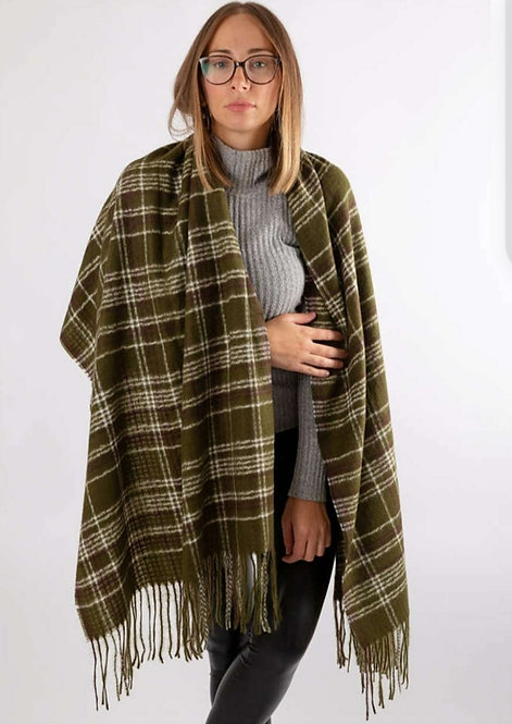 WELLCO PLAID SCARF GREEN
