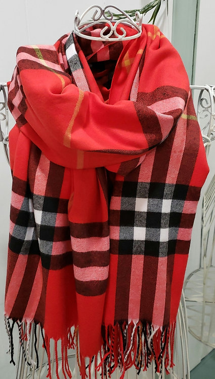 CHERIE BLISS RED PLAID SCARF