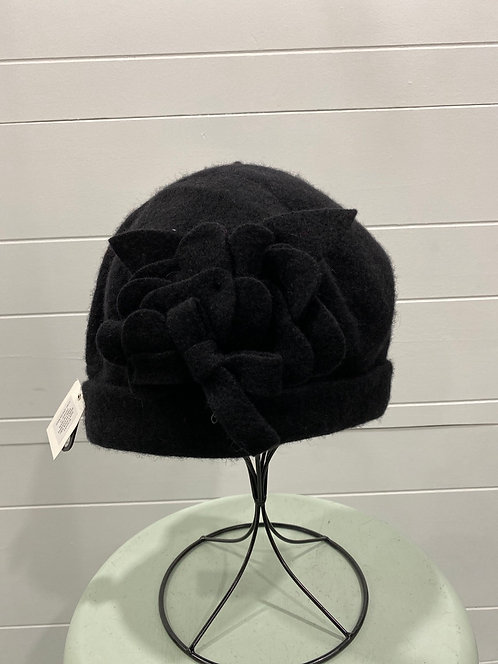 PICABO BLACK FELTED HAT WITH FLOWER AND BOW DETAIL