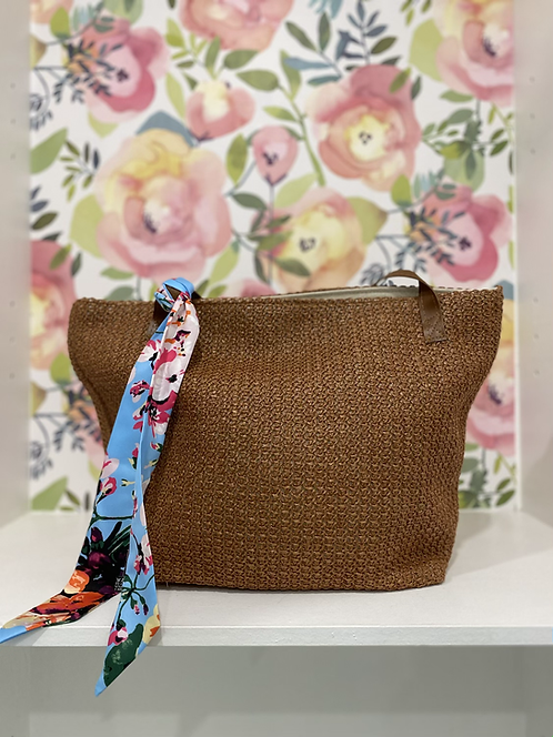 SIMI BROWN BEACH BAG WITH BLUE FLORAL SCARF TIE