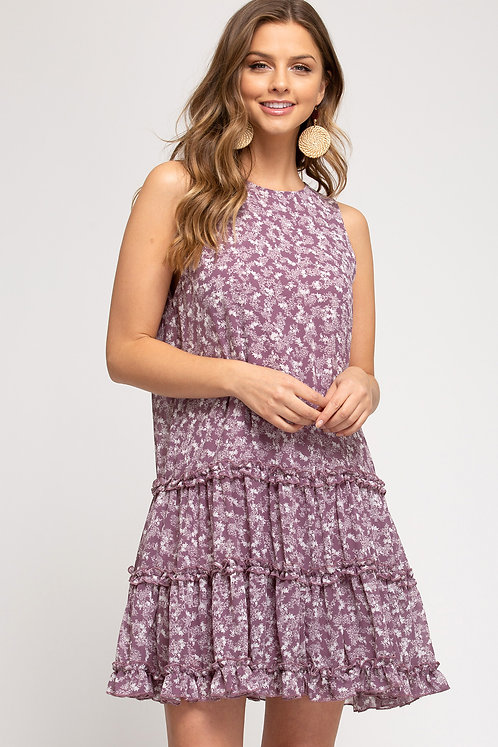 SHE & SKY SLEEVELESS WOVEN PRINTED TIERED DRESS WITH LINING