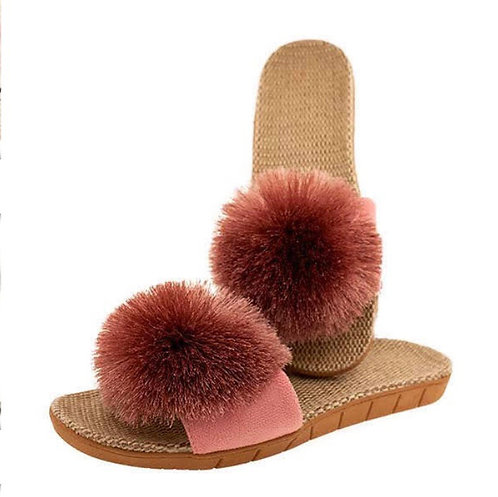 BY CHANCE PINK POM POM SLIDES
