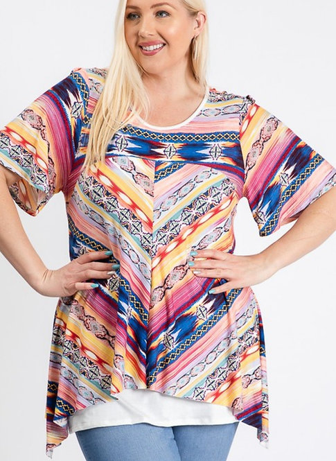 STORY TELLER AZTEC PATTERNED LAYERED TOP