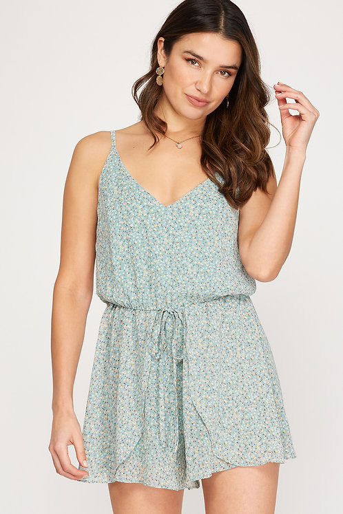 SHE AND SKY SEAFOAM ROMPER WITH FLORAL DEATAIL