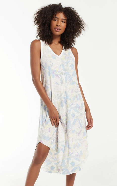 Z SUPPLY REVERIE FLORAL MIDI DRESS LAVENDAR GREY
