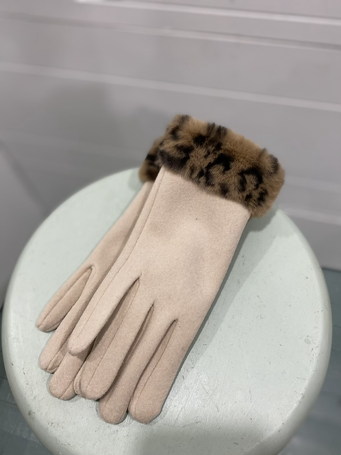 CHEIREE  BLISS CREAM TEXTING GLOVES LEOPARD