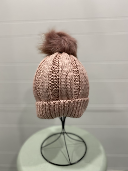 PINK KNIT PEARL TOQUE WITH PINK POMPOM