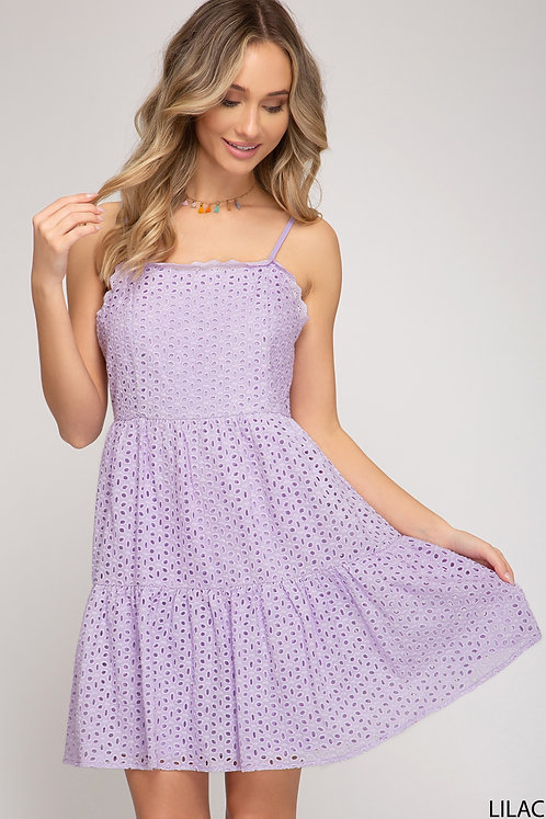 SHE AND SKY LILAC CROCHET DRESS