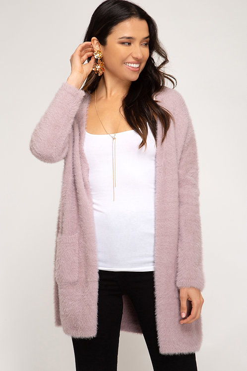 SHE AND SKY FUZZY CARDIGAN WITH POCKETS PINK