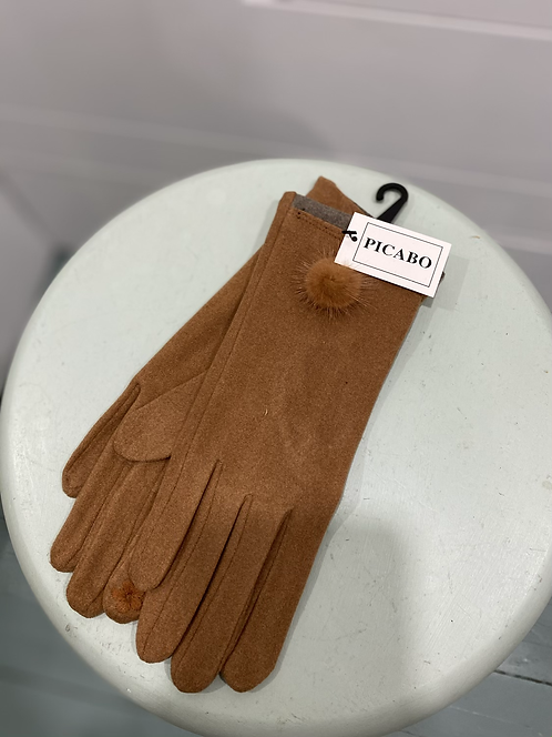 PICABO SUEDE TEXTING GLOVES WITH FURRY BALL