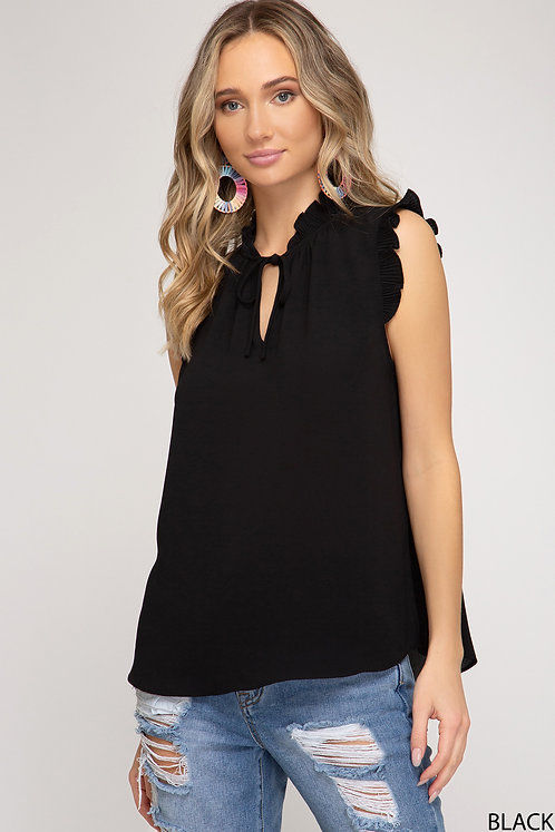 SHE AND SKY TOP WITH NECK STRAP DETAIL BLACK