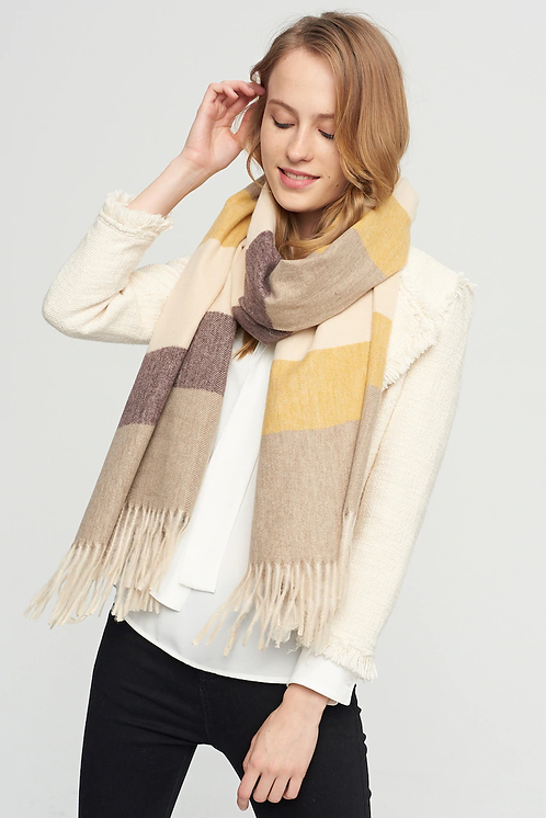 WELLCO SCARF MUSTARD/BROWN/CREAM