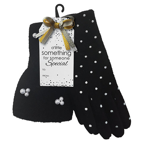 SIMI HEADBAND AND GLOVE SET BLACK POKA DOT