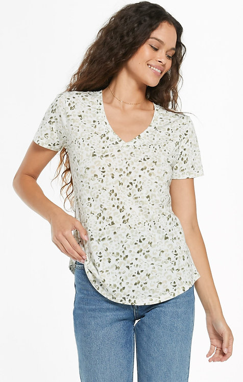 Z SUPPLY PAINTED LEOPARD V-NECK TEE