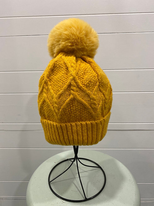MUSTARD YELLOW TOQUE WITH GOLD SEQUINS
