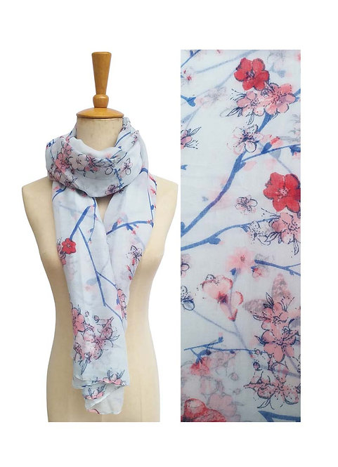 PASSIONS LIGHT WEIGHT SCARF BABY BLUE BUTTERFLIES & FLOWERS