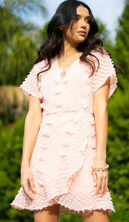 SHE AND SKY HALF FLUTTER SLEEVE  3D APPLIQUE  DRESS