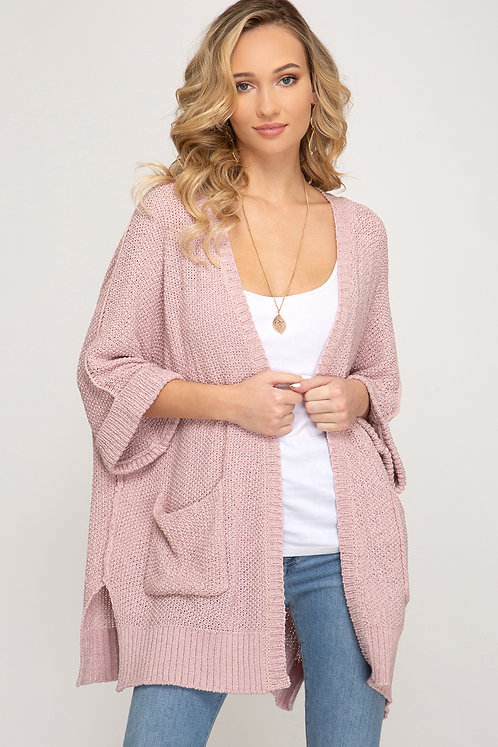 SHE & SKY CARDIGAN WITH POCKETS MISTY PINK