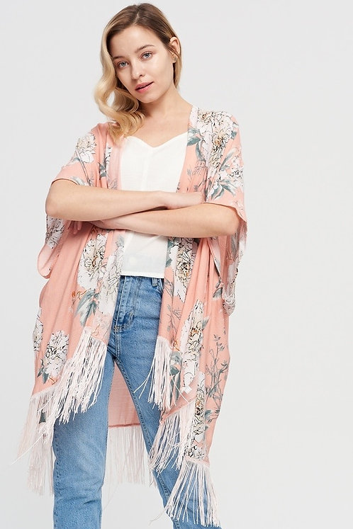 WELLCO KIMONO PINK WITH TASSELS