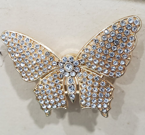 GOLD METAL JEWELED MAGNETIC BROACH